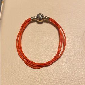 Bright orange pandora multi strand bracelet